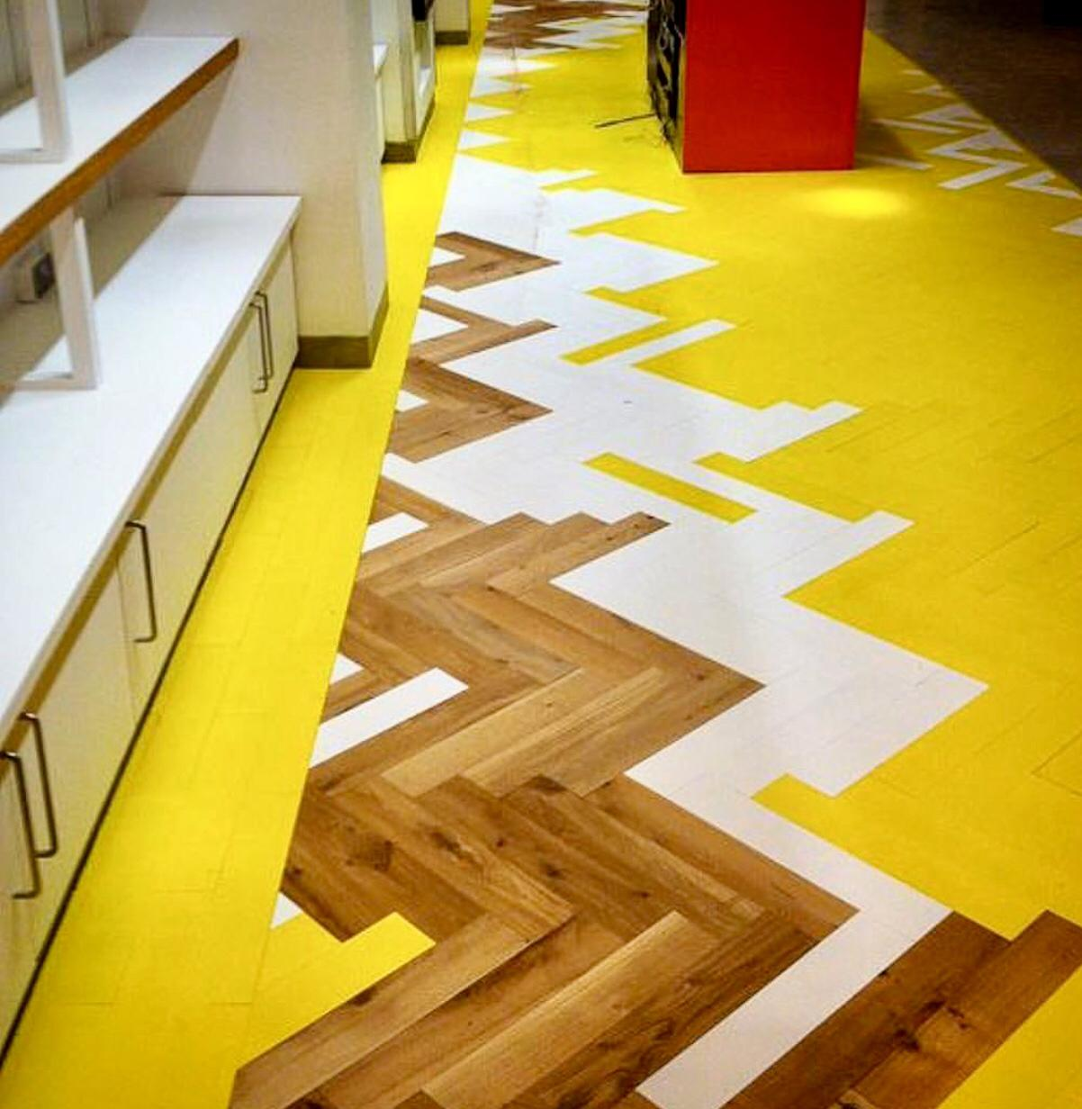 coloured herringbone parquet